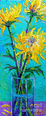 Gesture Painting - Chrysanthemums In A Vase by Mona Edulesco