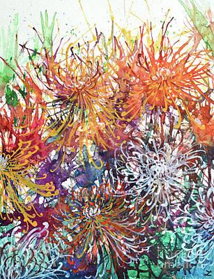 Painting - Chrysanthemums In The Garden by Zaira Dzhaubaeva