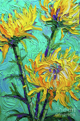Painting - Chrysanthemums On Turquoise Palette Knife Impasto Oil Painting by Mona Edulesco