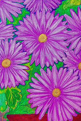 Chrysanthemums Pink Art Print by Adrienne Talbot