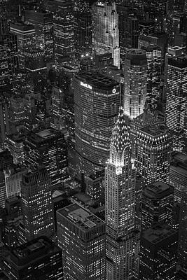 Aerial Photograph - Chrysler Building Aerial View Bw by Susan Candelario