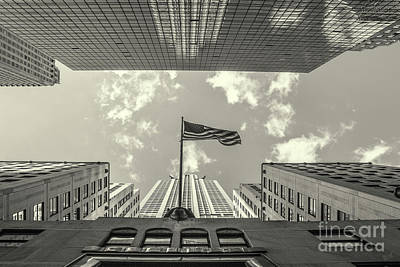 Photograph - Chrysler Building American Flag Black And White by Nishanth Gopinathan