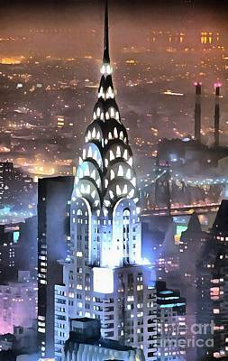 Digital Art - Chrysler Building At Night by Mick Flynn