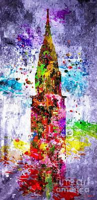 Chrysler Building Mixed Media - Chrysler Building Colored Grunge by Daniel Janda