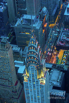 Helicopter Photograph - Chrysler Building by Inge Johnsson