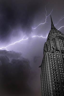 Lightning Photograph - Chrysler Building by Martin Newman