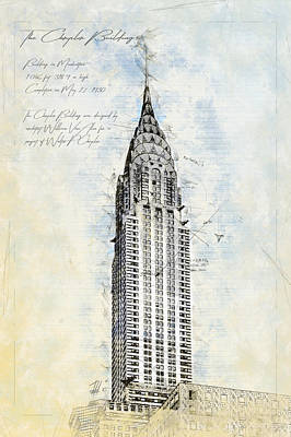 Chrysler Building Drawing - Chrysler Building, Ny by Theodor Decker