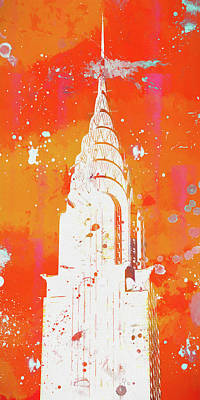 Painting - Chrysler Building Paint Splatter by Dan Sproul