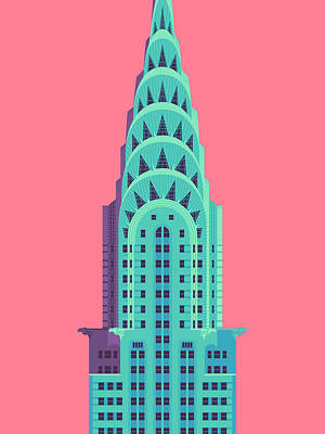 Architecture Digital Art - Chrysler Building - Red by Ivan Krpan