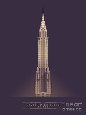 Architecture Digital Art - Chrysler Building - Vintage Dark by Ivan Krpan