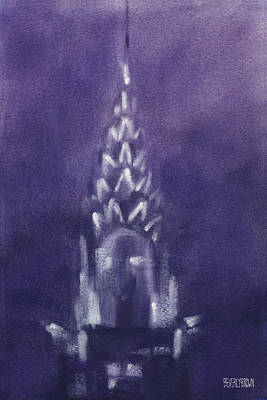 New York City Painting - Chrysler Building Violet Night Sky by Beverly Brown Prints