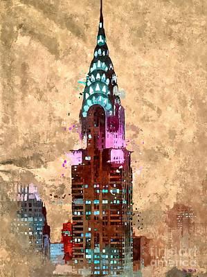 Chrysler Building Mixed Media - Chrysler Colored Grunge by Daniel Janda