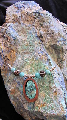 Jewelry - Chrysocolla In Gourd Wood by Barbara Prestridge