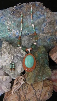 Jewelry - Chrysophase Set In Gourd Wood #d155 by Barbara Prestridge