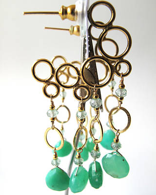 Adove Jewelry - Chrysoprase Mermaid Bubble Hoops by Adove  Fine Jewelry