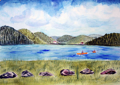 Art Print featuring the painting Chrystal Lake  Barton Vt  by Donna Walsh