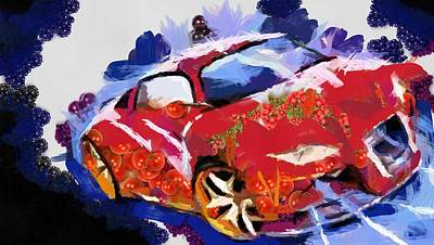Chubby Car Red Art Print by Catherine Lott