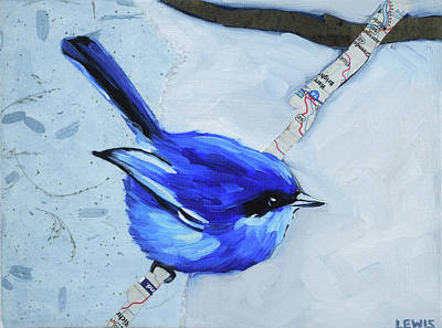 Bunting Mixed Media - Chubby Indigo Bunting by Anne Lewis