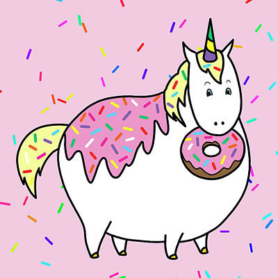 Chubby Unicorn Eating Sprinkle Doughnut Art Print