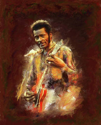 Chuck Berry Wall Art - Painting - Chuck Berry by Brian Tones