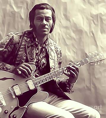 Music Royalty-Free and Rights-Managed Images - Chuck Berry, Music Legend by Esoterica Art Agency