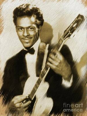 Painting - Chuck Berry, Music Legend by Mary Bassett