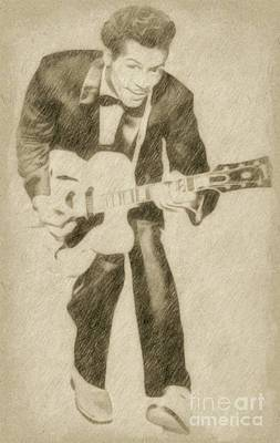 Fantasy Drawings Royalty Free Images - Chuck Berry, Rock n Roll Star Royalty-Free Image by Frank Falcon