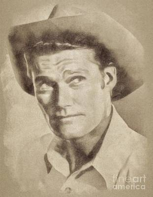 Musicians Drawings - Chuck Connors, Vintage Actor by John Springfield by John Springfield