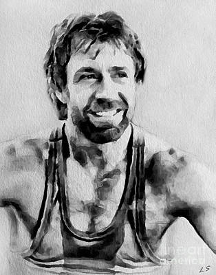 Action Sports Art Drawing - Chuck Norris by Sergey Lukashin