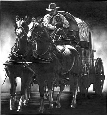 Horse Pencil Drawing Drawing - Chuck Wagon by Jerry Winick
