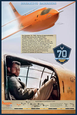 X-plane Digital Art - Chuck Yeager Breaking Barriers by Peter Chilelli