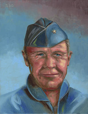 Painting - Chuck Yeager by David Bader