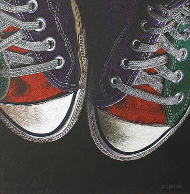 Tennis Shoe Drawing - Chucks Canvas by Donna Slade