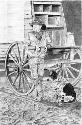 Cattle Drive Drawing - Dog Wants A Donut by Russell Britton