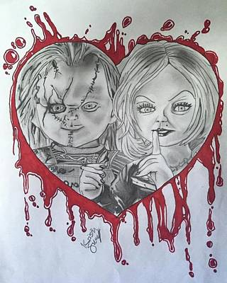 Tiffany Drawing - Chucky And Tiffany by Kristin Salley