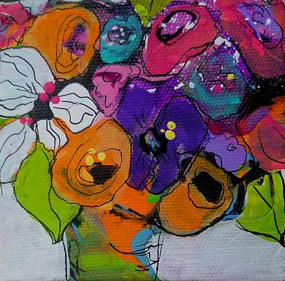 Painting - Chunky Floral With White Flower by Terri Einer