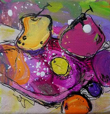 Painting - Chunky Fruit Plate by Terri Einer