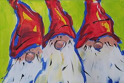 Painting - Chunky Gnome Triplets by Terri Einer