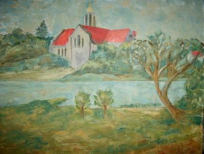 Church Across River Art Print by Joseph Sandora Jr