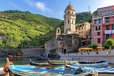 Photograph - Church Along The Vernazza Harbor by Carolyn Derstine