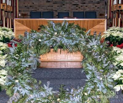 Photograph - Church Altar And Christmas Wreath Soft Effect by Rose Santuci-Sofranko