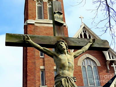Digital Art - Church And Crucifixion by Ed Weidman