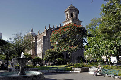Church And Fountain Guadalajara Art Print by Jim Walls PhotoArtist