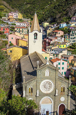 Photograph - Church And Town Of Riomaggiore Italy by John McGraw