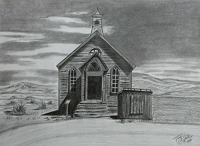 Drawing - Church  At Bodie  by Tony Clark
