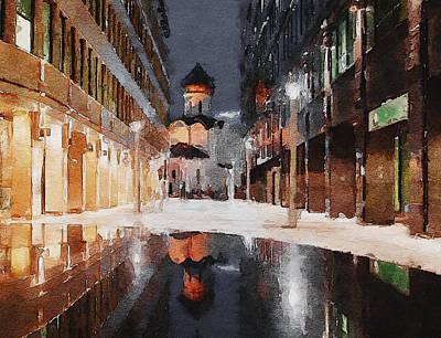 Digital Art - Church At Night 2 by Yury Malkov