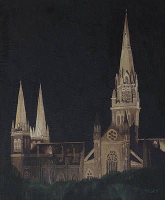Painting - Church At Night by Masami Iida