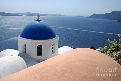 Church Photograph - Church Dome Santorini Caldera by Just Eclectic