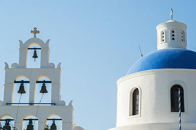 Church Domed Roof And Bells  Oia Art Print by Dosfotos
