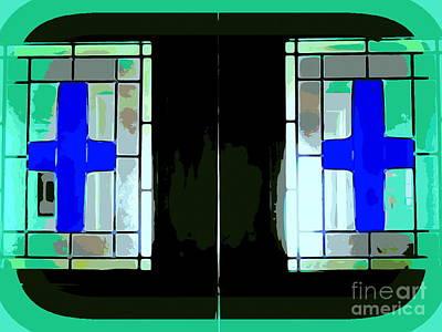 Digital Art - Church Door Crosses by Ed Weidman